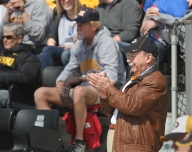 Missouri Chancellor R. Bowen Loftin, right, was one of the many on hand for the second game against Georgia.