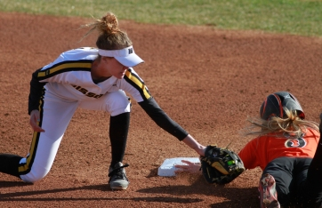Sami Fagan's tag at second base is too late to get Oklahoma State's Shelby Davis.