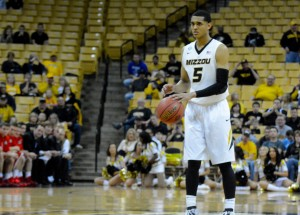 Missouri guard Jordan Clarkson brings the ball up the court in the second half against Davidson on Tuesday, March 18, at Mizzou Arena. Clarkson finished with 15 points for the Tigers.