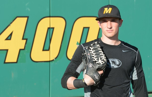 Missouri freshman center fielder Jake Ring stands in the outfield at Taylor Stadium on Thursday, March 13, 2014. Ring earned the nickname Squirrel from his Missouri teammates for his ability to get to balls all over the outfield.