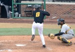 Missouri freshman shortstop Ryan Howard (8) prepares to swing during a sixth-inning at bat as Southern Mississippi catcher Chuckie Robinson waits for the pitch Saturday, March 8, 2014, at Taylor Stadium. Howard went 1-for-4 with one run and one RBI.