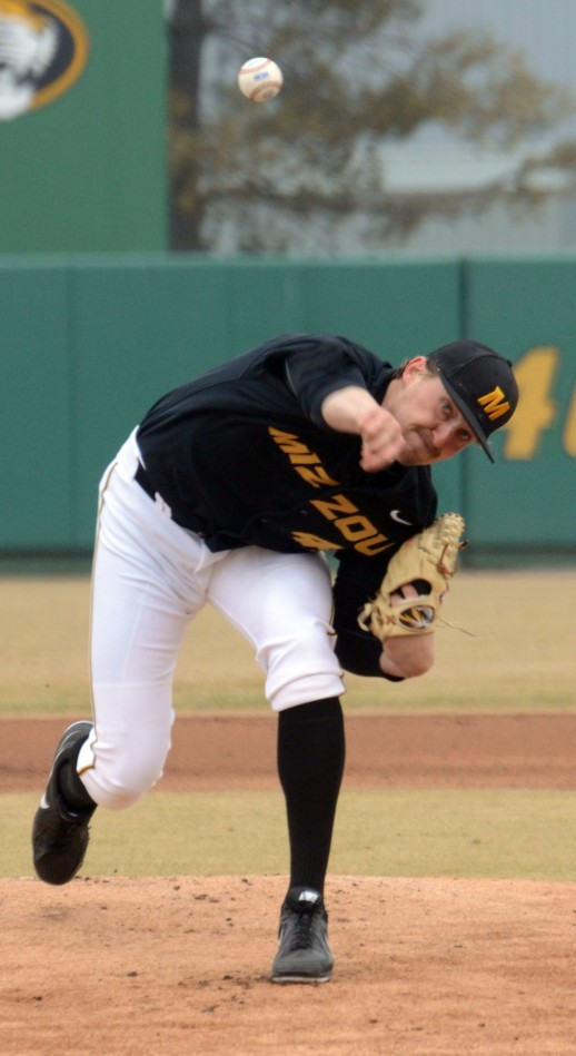 Missouri starting pitcher John Miles delivers a pitch during the first inning against Southern Mississippi on Saturday, March 8, 2014. Miles earned the win by going 5 1/3 innings and allowing four runs, two earned runs, five hits with six strikeouts and one walk.