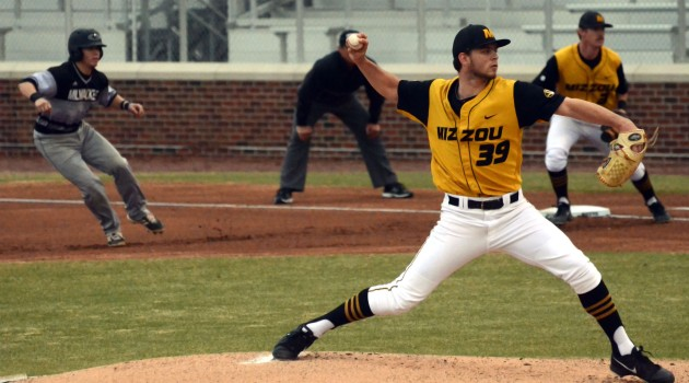 Missouri pitcher Griffin Goodrich pitched seven innings, giving up eight hits and one walk in Missouri's 7-5 win over the University of Wisconsin-Milwaukee Panthers on Tuesday, March 18, 2014 at Taylor Stadium. The Tigers will play the Panthers in the final game of the two-game series on Wednesday at 6 p.m.