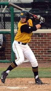 Missouri outfielder Logan Pearson singled in the first inning to give Missouri its first base runner of the night. The Tigers would go on to beat the Panthers 7-5 on Tuesday, March 18, 2014 at Taylor Stadium in Columbia, Mo.