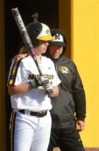 Missouri's Angela Randazzo talks with coach Ehren Earleywine in the first game.