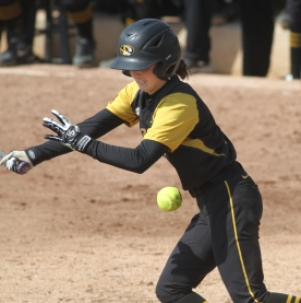 Ashtin Stephens watches as the ball goes foul during her at-bat. She had one hit in the game.