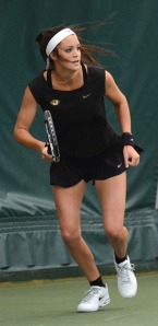 : Missouri's Rachel Stuhlmann prepares to return a hit vs. Kentucky's Kelsey Dieters on Sunday, March 9 at the Green Tennis Center in Columbia, Mo. Stuhlmann won the match 6-3, 6-3.