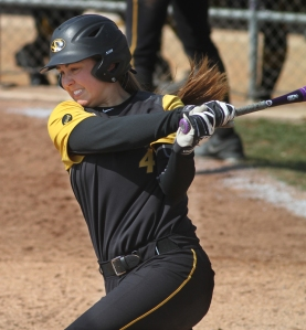 Mackenzie Sykes gets one of her hits against Georgia on Saturday, March 29, 2014. Sykes is hitting .272 with eight home runs and 51 RBIs going into Friday's regional game against Bradley.