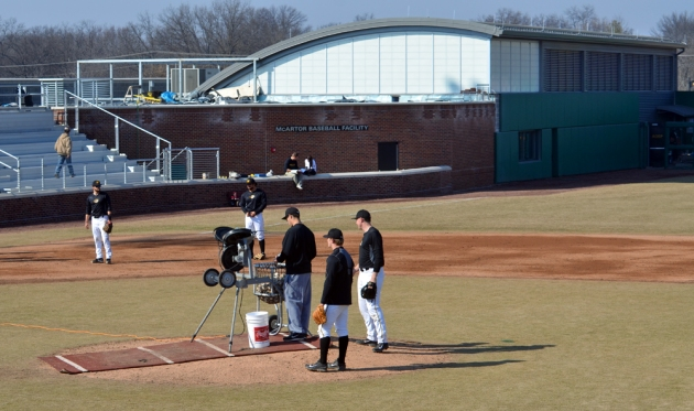 Missouri's baseball team practices on Thursday March 6, 2014, in front of the newly built McArtor Baseball Facility, part of a $4.5 million renovation to Taylor Stadium.