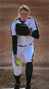 Freshman pitcher Tori Finucane pitches against Oklahoma State on March 22, 2014 at University Field in Columbia, Mo. Finucane was given three SEC honors on Tuesday including Freshman Player of the Year.
