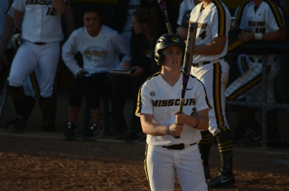 Missouri right fielder Emily Crane gets ready for a pitch in the seventh inning of game one against Mississippi on Friday, April 18, 2014 at University Field in Columbia, Mo.
