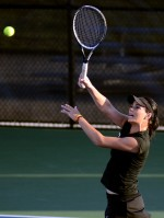 Cierra Gaytan-Leach hits a volley in her match vs. Mississippi State's Georgiana Patrasc on Friday, April 11 at the Mizzou Tennis Complex in Columbia, Mo. Gaytan-Leach would win the match 6-4, 6-4.