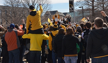 Students and fans gathered at Tiger Plaza on March 4, 2014, to take part in the shooting of a commercial for the SEC Network. The network is scheduled to launch in August. Photo by Philip Joens.