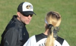 Missouri coach Ehren Earleywine speaks with infielder Angela Randazzo between innings of Game 2 on Wednesday, April 9, 2014 at University Field in Columbia, Mo. Wednesday's victories were No. 500 and 501 in Earlywine's career.