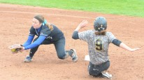 Missouri sophomore outfield Taylor Gadbois steals second in the Tigers' doubleheader sweep of the Blue Jays on Tuesday, April 29, 2014 at University Field in Columbia, Mo. She has a team-leading 44 steals this season.