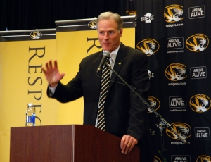 "Kim Anderson thanked many people for the opportunity to ""come home"" to the University of Missouri."