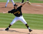 Missouri starting pitcher John Miles delivers the first pitch against Mississippi State  on Saturday, April 19, at Taylor Stadium.  Miles was the losing pitcher after six and one-third innings, allowing four runs on five hits.