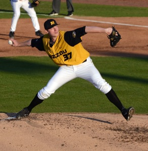 Missouri starting pitcher Peter Fairbanks recorded a career-best six innings, striking out four hitters and taking the win to improve to 3-2 on the year. Missouri beat the Missouri State Bears 9-4 on Tuesday, April 8, 2014 at Taylor Stadium in Columbia, Mo.