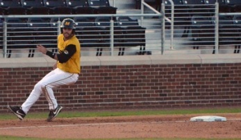 Missouri left fielder Dillon Everett advances to third on an Eric Anderson single in the bottom of the fourth inning. The Tigers beat in-state rival Missouri State 9-4 on Tuesday, April 8, 2014 at Taylor Stadium in Columbia, Mo.