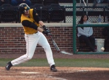 Missouri DH Eric Anderson hits a single in the bottom of the fourth inning. The Tigers beat Missouri State 9-4 on Tuesday, April 8, 2014 at Taylor Stadium in Columbia, Mo.