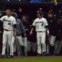 The Missouri bench greets outfielder Dillon Everett after his solo homerun in the bottom of the fourth inning, putting the Tigers on the scoreboard. Mizzou beat the Redhawks 6-5 on Tuesday, April 29, 2014 at Taylor Stadium in Columbia, Mo.