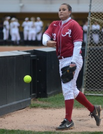 Alabama pitcher Jaclyn Traina warms up before playing Missouri on Thursday, May 1, 2014 at University Field in Columbia, Mo. Traina had 99 career wins entering Thursday's game