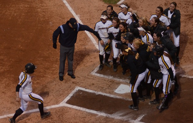 Emily Crane approaches home plate after her third inning home run on May 1, 2014 at University Field in Columbia, Mo. Crane had two hits on the night, and her home run gave the Tigers a 3-2 lead in the third inning.