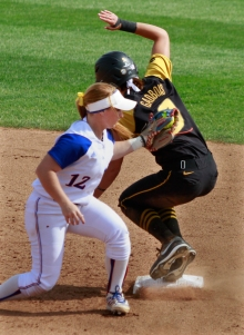 Taylor Gadbois slide safely into second, her 46th stolen base of the year.