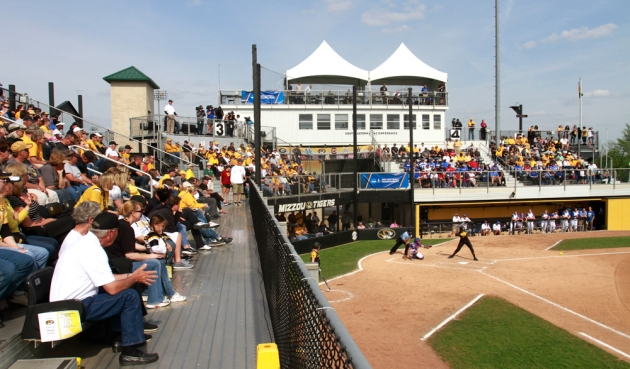 A large crowd takes in a softball game at University Field on May 17, 2014. The facility has a listed capacity of 500 people. The University of Missouri Board of Curators have approved a request for a new softball facility. (KBIA file photo)