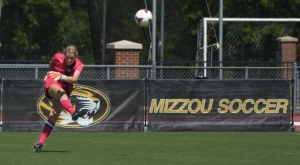 Missouri goalie McKenzie Sauerwein kicks the ball into play during the Tigers' 1-0 win over Tennessee-Martin on Sunday, Sept. 7, 2014, at Walton Stadium in Columbia, Missouri. (Greg Dailey)
