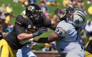 Missouri's Shane Ray (56) works against Central Florida's offensive lineman Torrian Wilson (72) on Saturday, Sept. 13, 2014 in Columbia. Ray had seven tackles in the Missouri 38-10 victory and today was named Defensive Player of the Week by the SEC.