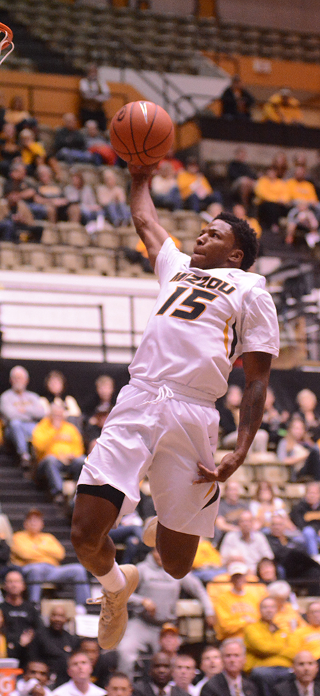 After getting a steal, Wes Clark broke away and slammed it home in an exhibition against William Jewell on Wednesday, Oct. 29, 2014. Clark would end up with 14  points and three steals on the game.