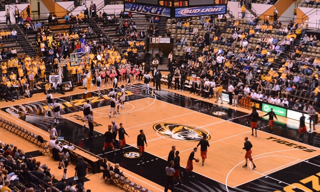 Missouri and William Jewell warm up during halftime. The Hearnes Center was coach Kim Anderson's home court as a player at Missouri in the mid-70s.