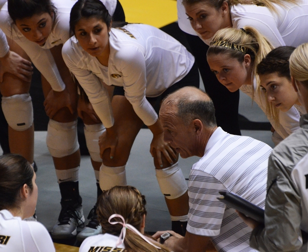Coach Wayne Kreklow talks to the team during a timeout on Friday, Oct. 17, 2014.