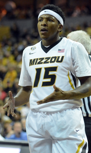 Wes Clark questions a foul call during the first half of Missouri's matchup against UMKC on Friday, Sept. 14, 2014. Clark committed three of Missouri's 25 fouls in the game.